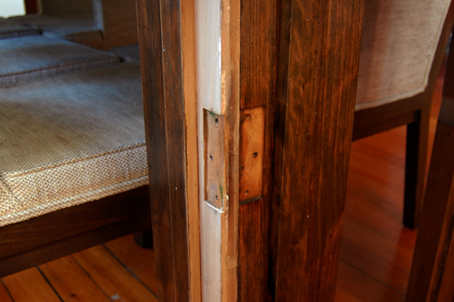 Mortises for the hinges exposed.
